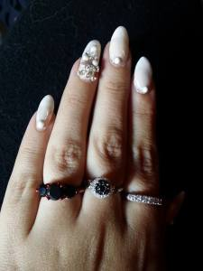cream and jewels pirate nails
