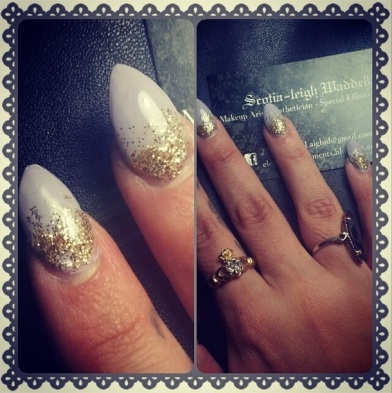 mauve with gold sparkle
